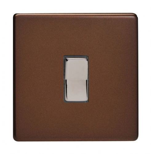 Varilight XDMR1S Screwless Mocha 1 Gang 10A 1 or 2 Way Retractive Light Switch
